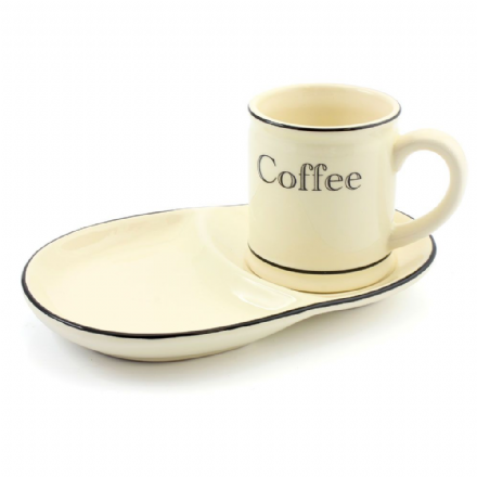 Cream and Black Country Kitchen Ceramic Coffee Mug and Plate Set